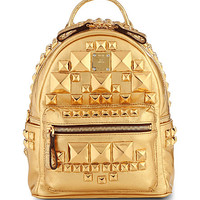 Studded small metallic-leather backpack