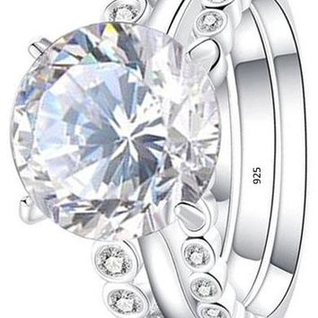 Luxury 3 pcs 4ct Round White Cz 925 Sterling Silver Wedding Engagement Ring Set