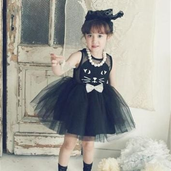2016 New Casual Dress For Girls Toddler Princess Baby Cute Cat Prints Girl Clothes Kids Party Dresses 2-7 Years Children Costume