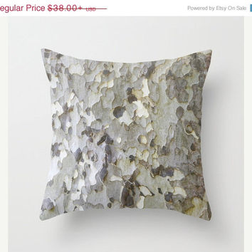 FOUR DAY SALE Sycamore Tree Bark - White, Black, Gray - Throw Pillow Cover - Earthy - Nature - Italy