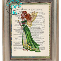 Green Gowned Fairy with Firey Red Hair Art Beautifully Upcycled Vintage Dictionary Page Book Art Print, Fantasy Art Print