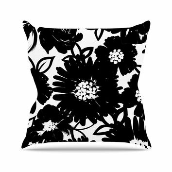 "Emine Ortega ""Monochromatic Blooms"" Black White Throw Pillow"