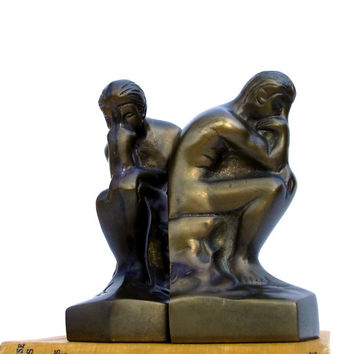Vintage Bookends Mid century Modern Bookend The Thinker Brass Nude Sculpture After Auguste Rodin Library Office Decor
