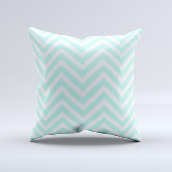 Light Teal & White Sharp Chevron  Ink-Fuzed Decorative Throw Pillow