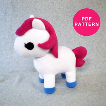 PDF Pattern - Plush Toy Pony Horse - Animal Sewing Pattern
