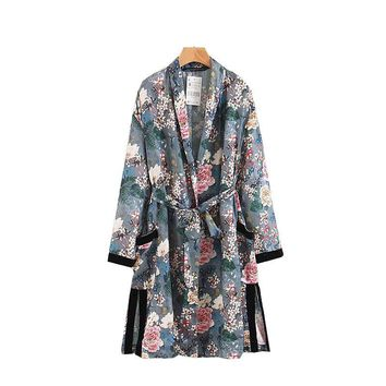 Trendy X2313 women retro floral print long design color block jacket kimono outwear ladies summer double pockets with belt jackets top AT_94_13