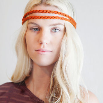 Double Strand Headband Double Braid Hair Band Hippy Style Boho Music Festival Hairwrap in Pumpkin