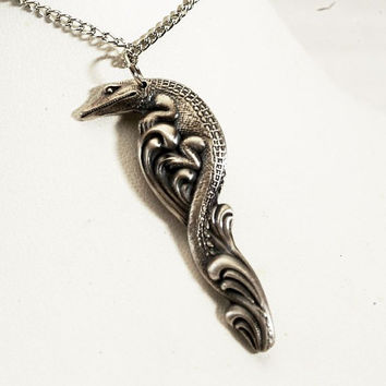 Gator Sterling Spoon Pendant  Alligator in Swamp Waves Sterling Silver Pendant (P167)