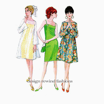 1960s DRESS PATTERN Mod Evening Cocktail Slip Dress with Overdress Tent Trapeze Dress McCalls 8805 Womens Sewing Patterns UNCUT Bust 32
