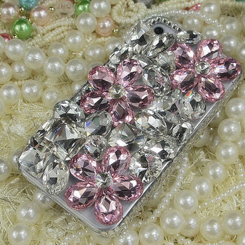 Pink Gemstone Flowers iPhone 4s Case // Custom Luxury Swarovski Crystal Rhinestone Bling iPhone 5 Case // iPhone Case // iPhone 4 Case