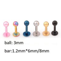 1 pair men women ear bone piercings lip pircings labret 6mm/8mm/10mm stainless steel silver gold black pink blue body jewelry