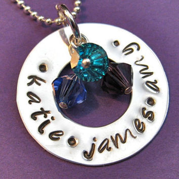 Handstamped Washer Birthstone Name Necklace in by thirtyoneshekels