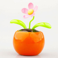 Home Car Flowerpot Solar Power Flip Flap Flower Plant Swing Auto Dance Toy TBUS
