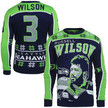 Men's Seattle Seahawks NFL Russell Wilson Klew Navy Name & Number Ugly Sweater