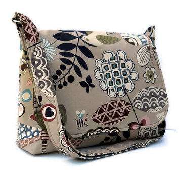 Cotton Messenger Bag Shoulder Bag - Tan with Funky Black and Brown Birds and Flowers
