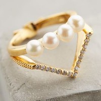 Pearled Tiara Ring by Gold Philosophy Pearl