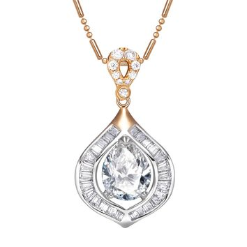 Fancy Amazing Baguette Teardrop Style Sparkling Crystals Amulet Gold-Silver-Tone Magical Necklace