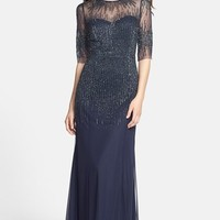 Women's Adrianna Papell Embellished Illusion Yoke Mesh Gown