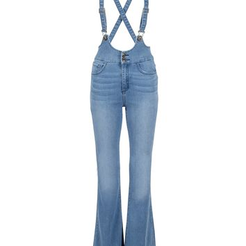 Wild Horses Flared Denim Jumpsuit Overall