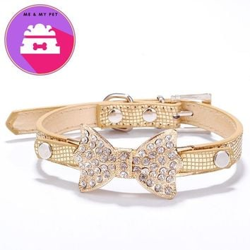 Crystal PU Leather Dog Collar Perros Bling Rhinestone Cute Puppy Collars For Small Dogs Pet Accessories Dog Products Mascotas