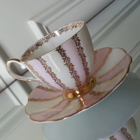 Antique pink, white, and gold roses Royal Talbot tea cup and saucer, English bone china tea set, vintage wedding gift