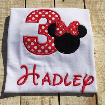 Minnie Mouse Birthday Shirt- Personalized Minnie Mouse Shirt- Embroidered Shirts