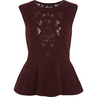 Dark red lace geometric cut out peplum top