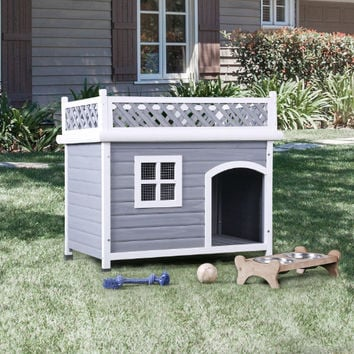 Furniture of America CM-PH322 Cayuga gray and white wood sloped roof pet / dog house