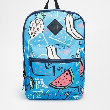 ASOS Backpack In Blue With Pineapple Print