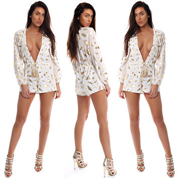 Gold and White Print Deep-V Romper