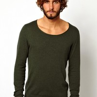 ASOS Scoop Neck Sweater In Cotton - Khaki