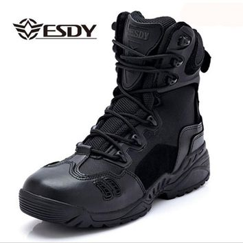 2017 Summer Military Tactical Boots For Men Desert Army Combat Ankle Boots Genuine Leather Zipper Work Safety Shoes