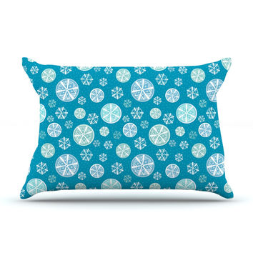 "Julie Hamilton ""Snowflake Sky"" Blue Pillow Sham"