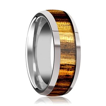 Tungsten Wood Ring - Zebra Wood Inlay - Tungsten Wedding Band - Polished Finish - 8mm - Tungsten Wedding Ring