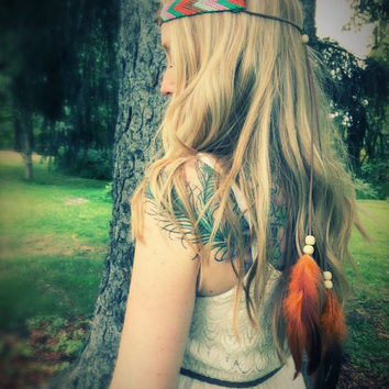 Native American feather headband,Indian hair accessory,Indian costume,Tribal hair jewelry,natural hair jewelry,suede cord turban,gypsy