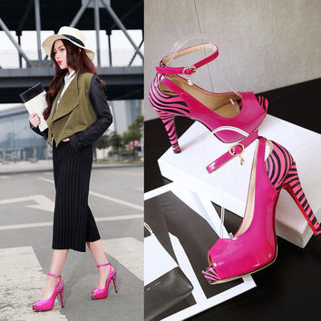 Stylish Design Summer Ladies High Heel Shoes Sandals [4920245956]