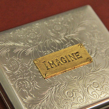 Imagine Cigarette Holder Metal Steel Wallet Retro Steampunk Case Smoking Accessory Gothic Cigarette Wallet and Antiqued 24kt Gold Covers