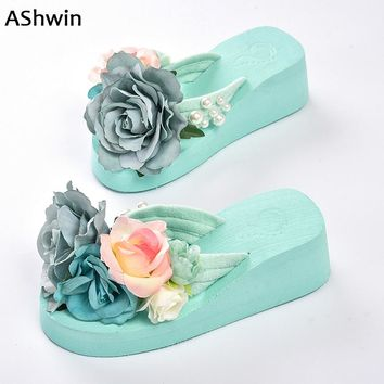summer women flip flops  thong slippers flower flatform shoes  mules clogs wedge handmade pearl slippers jelly color hawaiian