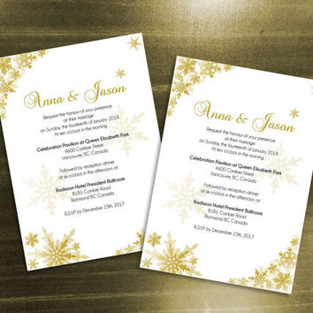 DIY Printable Wedding Invitation Card Template | Editable MS Word file | 5 x 7 | Instant Download | Winter Gold Snowflakes