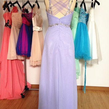 Long Lavender Prom Dress,Backless Beaded Party Dress Homecoming Formal Evening Gowns 2015