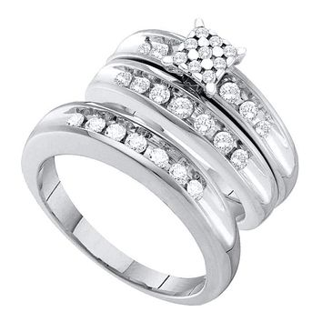 10kt White Gold His & Hers Round Diamond Cluster Matching Bridal Wedding Ring Band Set 3/4 Cttw - FREE Shipping (US/CAN)
