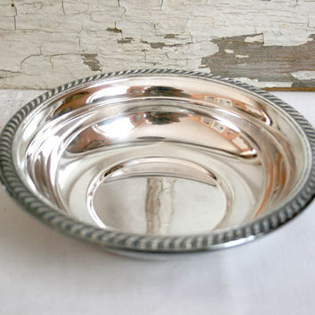 BF Rogers Silverplate Candy Nut Dish silver gray grey holiday serving red Christmas special occasion