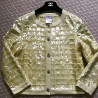 AUTHENTIC CHANEL Yellow 100% Cashmere and Sequin Sweater Size 36