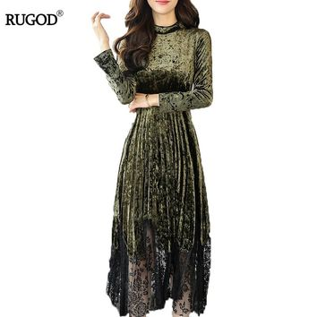 RUGOD New Autumn Velvet Lace Patchwork Dress Women Elegant Party Dress Winter Tunic Maxi Dress 2018 Fall Fashion Vestidos Femme