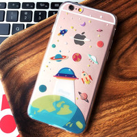 2016 Thin Soft Clear TPU Slim Cartoon Cute UFO Astronaut Spaceship Case For Apple iPhone 6 6s 6 Plus 6s Plus Silicone Phone Case
