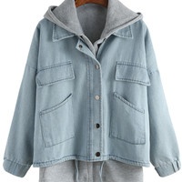 Blue Hooded Drawstring Denim Two Pieces Outerwear | MakeMeChic.COM