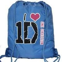 I Love One Direction Personalized Large Drawstring Backpack Gym P.E. Swim Bag (Blue)