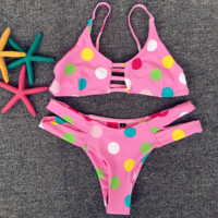 Sexy Hot pink Chest Hollow Colorful Dots Two Piece Bikini