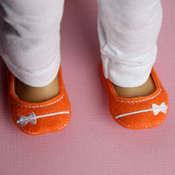 "18"" Doll Shoes Orange Felt with White Bow Band Doll Shoes fit 18"" Doll Like American Girl"