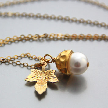 Gold Leaf Necklace Single Pearl Necklace Swarovski White Pearl Pendant Mushroom Gold Leaf Charm Necklace Vermeil Gold Jewelry